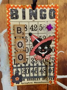 Altered Halloween Bingo card featuring vintage inspired images and handmade embellishments. Handmade by NeedleandThreadLLC on Etsy. Halloween Bingo Cards, Halloween Tags, Halloween Ornaments, Diy Halloween Decorations, Haunted Halloween, Shabby Chic Halloween, Vintage Halloween Crafts, Valentine Crafts, Cardmaking