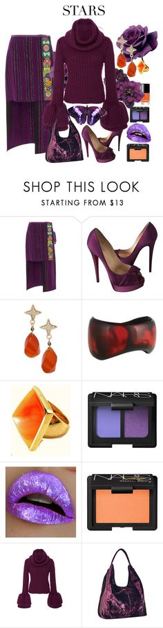 """""""Ana Sui Skirt and Brandon Maxwell Sweater"""" by mkdetail ❤ liked on Polyvore featuring Anna Sui, Christian Louboutin, Paul & Pitü Naturally, Kenneth Jay Lane, NARS Cosmetics, Brandon Maxwell and Rebecca Minkoff"""