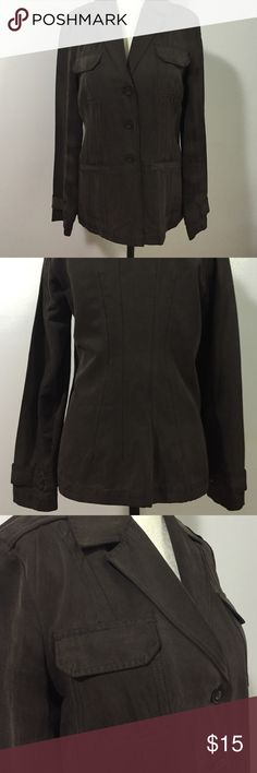 Chico's Silk/Linen Blend Jacket- Sz 0 Absolutely beautiful chocolate brown jacket with both breast pockets & flat pockets ( still sewn shut)- fugure flattering cut! NWOT! Chico's Jackets & Coats Blazers