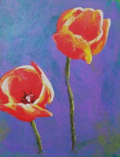 Red tulips on purple background