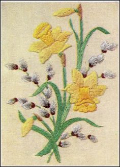 ♒ Enchanting Embroidery ♒   embroidered jonquils