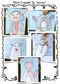 Guided drawings for winter! Directed Drawings for a fox, snowman, Dr. Martin Luther King, polar bear, and a penguin.