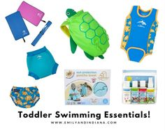 Toddler Swimming Essentials, Products you'll need to take a baby / toddler swimming. Konfidence UK, Cuddledry, Trunki, Child's Farm