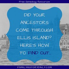 The Ellis Island records website has long been a great place to find free ancestry information. Providing instant access to more than 50 million Ancestry Records, Genealogy Sites, Genealogy Research, Family Genealogy, Free Genealogy, Find My Ancestors, Ellis Island Immigrants, Hans Peter, Family Research