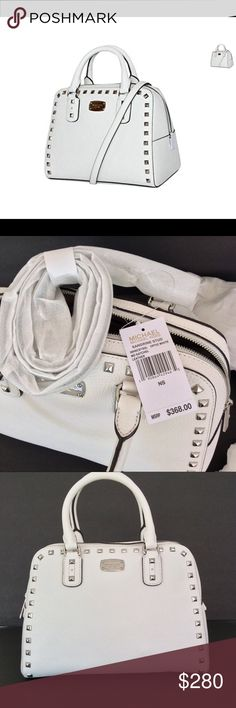 NWT MICHAEL KORS SAFIANO LEATHER Michael Kors Sandrine Large Leather Satchel Color: Optic White Gorgeous white saffiano leather; silver hardware 1 inside pocket, 4 slip pockets, protective feet at bottom Dual rolled leather handles with 5″ drop Removable, adjustable shoulder strap with 20-26″ drop Measures 10″ H x 5″ W x 13″ L Michael Kors Bags Satchels