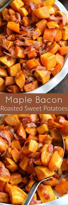 Maple Bacon Roasted Sweet Potatoes. Very simple side dish of roasted sweet potatoes but the flavor is fantastic. This dish is sweet and salty with a little kick from the fresh cracked peppercorns.