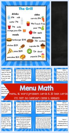 FREEBIE Menu Math, word problem cards, task cards for & grade math students Math Card Games, Math Task Cards, Math Problem Solving, Solving Equations, Fourth Grade Math, 5th Grade Math Games, Third Grade, Math Tutor, Maths
