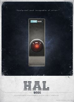 Vintage advertisements for HAL 9000 and the Orion III space plane
