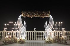 Frame - flower wall with pink and white artificial flowers. White partition and bionic gazebo. For more information call/what's app 0556704762 Wedding Stage Backdrop, Wedding Stage Design, Wedding Entrance, Wedding Stage Decorations, Wedding Designs, Wedding Mandap, Wedding Backdrops, Wedding Receptions, Wedding Table