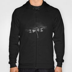 DRAGONFLY II Hoody by Pia Schneider #hoodies #unisex #men #women #clothing #art #gift #giftidea #dragonfly #insects #animals #black #blackandwhite #white #illustration #vintage #collage #clouds