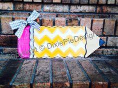 Pencil Door Hanger In Stock Pencil name sign by dixiepiedesigns