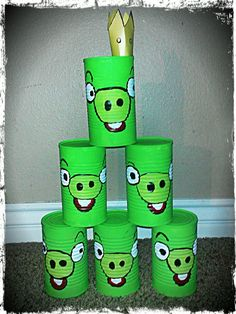 Altered to Perfection : Angry Birds can toss game.  Upcycled soup cans painted with acrylic