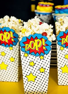 Wonder Woman Popcorn Boxes | Wonder Woman Party Ideas #girlfriendbirthday