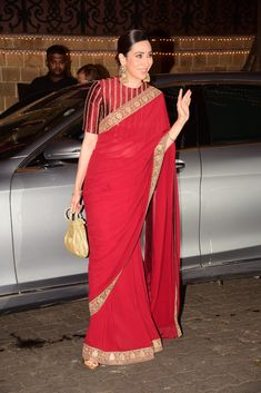 Karisma Kapoor in Red Sabyasachi Saree at Anil Kapoor's Diwali Bash DSC 3754 Source by Blouses Blouse Designs High Neck, Silk Saree Blouse Designs, Fancy Blouse Designs, Saree Blouse Patterns, Blouse For Silk Saree, Sari Dress, Red Saree, Silk Sarees, Dress Patterns