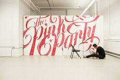 Typographic Mural - The Pink Party on Typography Served