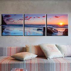 Stretched Canvas Art Landscape Huge Blue Sea Set of 3 - USD $ 59.99