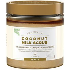 Calily Life Organic Coconut Milk Scrub with Dead Sea Minerals 24 Oz Deep Moisturizing and Nourishment Exfoliates Clears Eczema Removes Wrinkles Gets Skin Vibrant and Revitalized ** See this great product-affiliate link-affiliate link. Organic Face Wash, Organic Tea Tree Oil, Coconut Almond Milk, Organic Coconut Milk, Organic Sugar, Sugar Scrub Recipe, Sugar Scrub Diy, Dead Sea Minerals, Organic Living