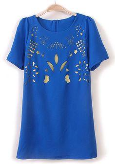 Blue Laser Cut Flowers Hollow-out Flax Blend Dress