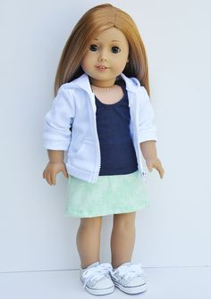 American Girl Clothes - White Hoodie Jacket, Navy Tank Top, Mint Denim Mini Skirt, Weekend Wear, Casual Outfit