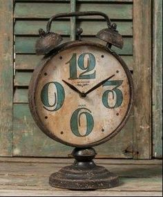 Clocks - Decor : Look at this Two Bell Table Clock by Ragon House - interior design Wall Watch, Father Time, Cool Clocks, Old Watches, Pocket Watches, Antique Clocks, Vintage Clocks, Time Clock, Clock Decor