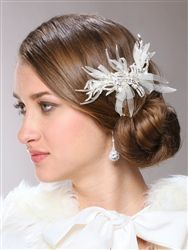 Crystal and Vintage Horsehair Ribbons Comb in Ivory
