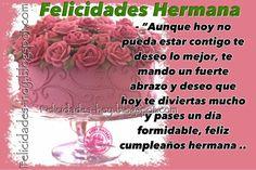 Tarjetas de Feliz Cumpleaños : Feliz cumpleaños hermana Dios te bendiga