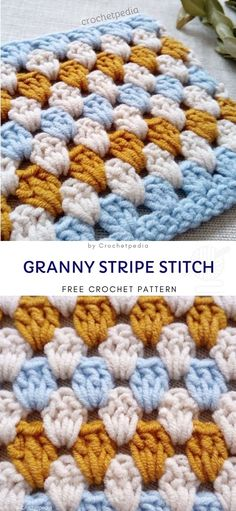 Granny Stripe Stitch Free Crochet Pattern Colors that were used in this particular one, are very calm and classic. You can repeat the pattern and crochet an adorable blankie for you, or your kidds, or just make some table decorations from it. Granny Stripes, Granny Stripe Blanket, Crochet Square Patterns, Granny Square Crochet Pattern, Crochet Stitches Patterns, Crochet Designs, Block Patterns, Beginner Crochet Stitches, Striped Crochet Blanket