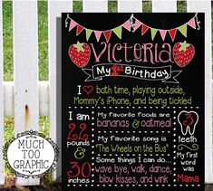 1st First Birthday Strawberry Berry Sweet Sign by MuchTooGraphic