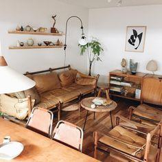 Living room in lots of warm light browns.  I do crave a little splash of color but very au naturel.