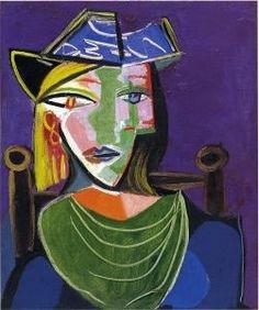 Pablo Picasso, Portrait de femme au col vert (Marie-Thérèse Walter). http://www.painting-palace.com/fr/paintings/30723#