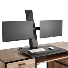Switch from sitting to standing with this sleekly designed black standing desk converter. Taking up minimal space on the home office desktop, this device lets you effortlessly adjust up to two monitors to any height up to 19 inches. Gaming Computer Desk, Computer Desk Setup, Pc Gaming Setup, Custom Gaming Desk, Pc Desk, Home Office Setup, Home Office Space, Home Office Design, Star Citizen