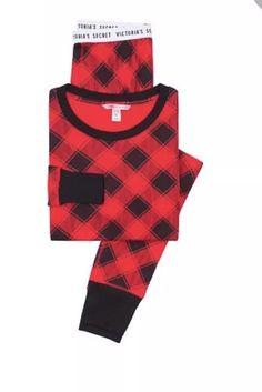 6d66cc7c6d5 NEW Victorias Secret Pajamas Thermal PJ s set red black plaid XL buffalo  check  fashion