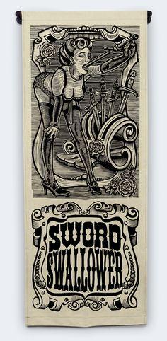 """Sword Swallower"" by Martin Mazorra  34"" x 87"" Woodcut"