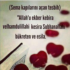 """Allah büyüklerin en büyüğüdür Allaha'a olan hamdimiz çoktur Sabah akşam her an tesbihimiz Allah'adır"""""""