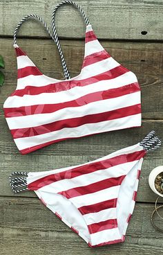 For the daughter who wants to be trendy like her mother, the Stripe Tank Bikini Set is bright, stylish, and fun. Featuring a triangle top design and a fringe finish, she'll be fashionable at the beach or pool.