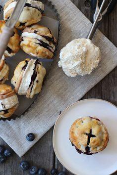 Blueberry pie ice cream sandwiches.