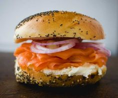 Russ and Daughters Deli- A New York E Houston St (between East Houston St & Ave) New York, NY Lower East Side, Norwegian smoked salmon on a plain bagel with caviar cream cheese, Best Bagel and Lox in the city, Smoked fish and Caviar new-york-food Paninis, Best Bagels In Nyc, Lox And Bagels, New York Bagel, A New York Minute, Sandwiches, Deli Food, Food Nyc, Good Food