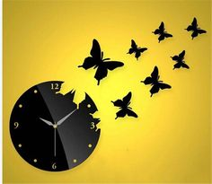 Himerus Mordern Patchwork DIY Art Home Decor Wall Clock Butterfly Wall Stickers Decals for Office Living Dining Room Bedroom Bathroom ^^ Find out more details by clicking the image : home diy improvement