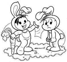 desenho Monica e Cebolinha Vestidos de Coelho, colorir Monica e Cebolinha Vestidos de Coelho