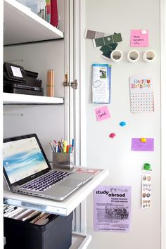 If you're tight on space, why not repurpose an unused utility cabinet into a a tidy little home office? Install it in an hour, and you're ready to work!