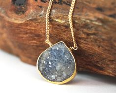 Ho'ola'i necklace - blue grey druzy gold necklace, bezel druzy necklace, gold pendant necklace, hawaii bridesmaid necklace, wedding jewelry