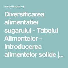 Diversificarea alimentatiei sugarului - Tabelul Alimentelor - Introducerea alimentelor solide | Clubul Bebelusilor