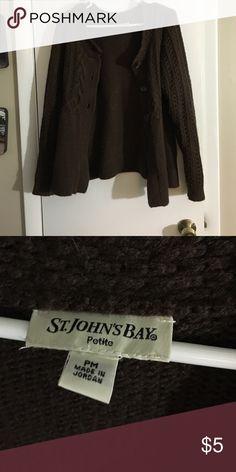 Brown knit cardigan sweater petite Brown knit cardigan sweater with buttons St. John's Bay Sweaters Cardigans