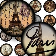 French Paris digital collage sheet in 1 inch circles for by piddix, $3.95