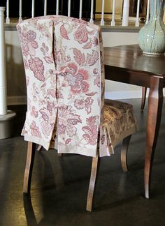 Custom Parsons Chair Slipcover With Decorative Back And Banded Impressive Large Dining Room Chair Covers Design Inspiration