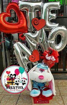 Valentines Gifts For Boyfriend, Boyfriend Gifts, Valentine Gifts, Valentines Day, Candy Bouquet, Balloon Bouquet, San Valentin Ideas, Valentines Balloons, Balloon Gift
