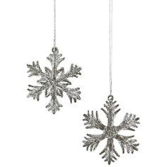 HomArt Glass Snowflakes Ornament, Small - Set Of 12 Grey By ($72) ❤ liked on Polyvore featuring home, home decor, holiday decorations, grey home decor, glass snowflake ornaments, gray home decor, snow flake ornaments and glass home decor