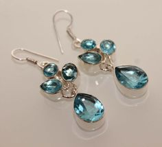 CHRISTMAS GIFT HYDRO BLUE TOPAZ JEWELRY 925 STERLING SILVER OVERLAY EARRING E497 #HANDMADE