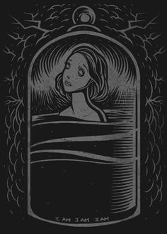 davequiggle:  Illustration inspired by Sylvia Plath, The Bell Jar. Available from Miles To Go Clothing among other literary inspired designs...