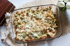 """A delicious and creamy casserole filled with ham, broccoli and a burst of flavors. This recipe is low-carb, gluten-free and a Trim Healthy Mama """"S"""" fuel. Get the recipe: Creamy Ham and Broccoli Casserole Ham Casserole, Broccoli Casserole, Casserole Recipes, Low Carb Recipes, Healthy Recipes, Atkins Recipes, Pork Recipes, Healthy Meals, Recipies"""